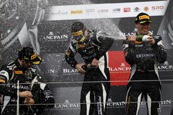 Podium: Race winner #63 GRT Grasser Racing Team, Lamborghini Huracan GT3: Mirko Bortolotti, Christian Engelhart, Andrea Caldarelli