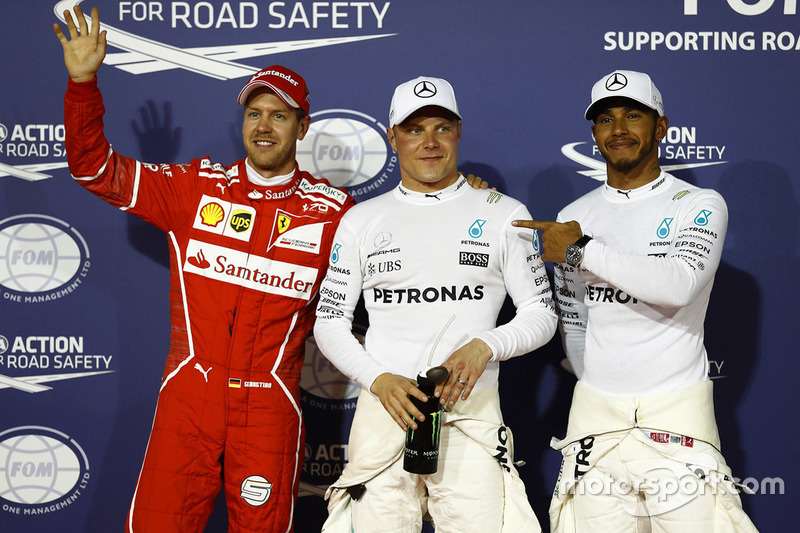 Le poleman Valtteri Bottas, Mercedes AMG, le second Lewis Hamilton, Mercedes AMG, le troisième Sebastian Vettel, Ferrari