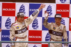 Podium: Race winner Thierry Boutsen, Williams Renault, second place Riccardo Patrese, Williams Renault