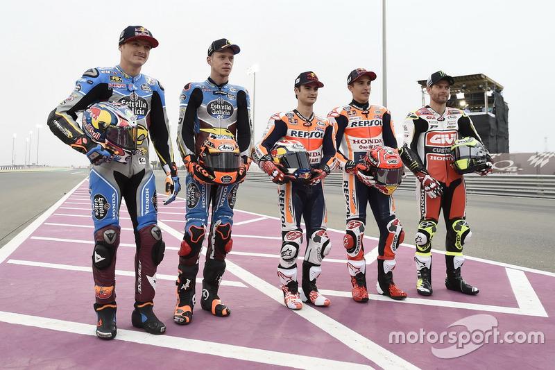 Marc Marquez, Repsol Honda Team; Jack Miller, Estrella Galicia 0,0 Marc VDS; Tito Rabat, Estrella Ga