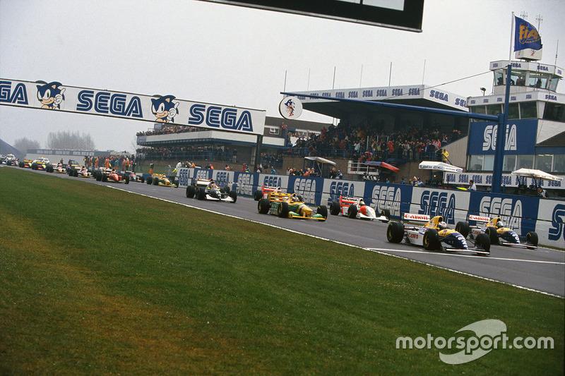 Start: Alain Prost vor Damon Hill, Michael Schumacher und Ayrton Senna