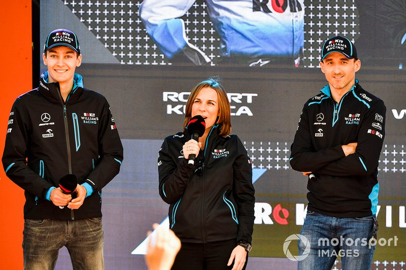 George Russell, Williams, Claire Williams, Vice Team Principal, Williams Racing e Robert Kubica, Williams Racing, all'evento a Federation Square