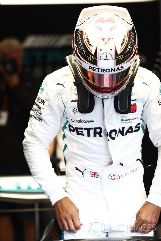 Lewis Hamilton, Mercedes AMG F1, enters his cockpit