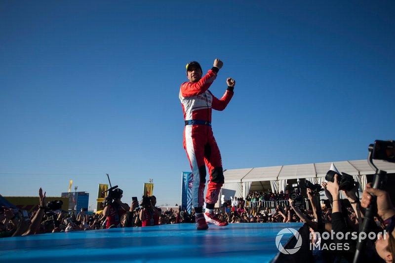 Jérôme d'Ambrosio, Mahindra Racing, 1st position, celebrates on the podium
