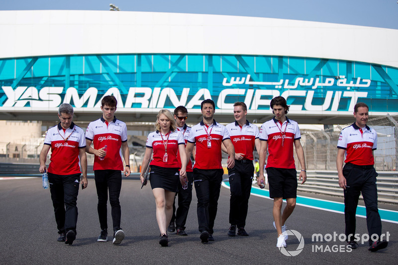 Charles Leclerc, Sauber and Antonio Giovinazzi, Sauber walk the track