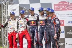 Sur le podium : Les vainqueurs Sébastien Ogier, Julien Ingrassia, M-Sport Ford WRT Ford Fiesta WRC, les deuxièmes, Ott Tänak, Martin Järveoja, Toyota Gazoo Racing WRT Toyota Yaris WRC, et les troisièmes Thierry Neuville, Nicolas Gilsoul, Hyundai Motorsport
