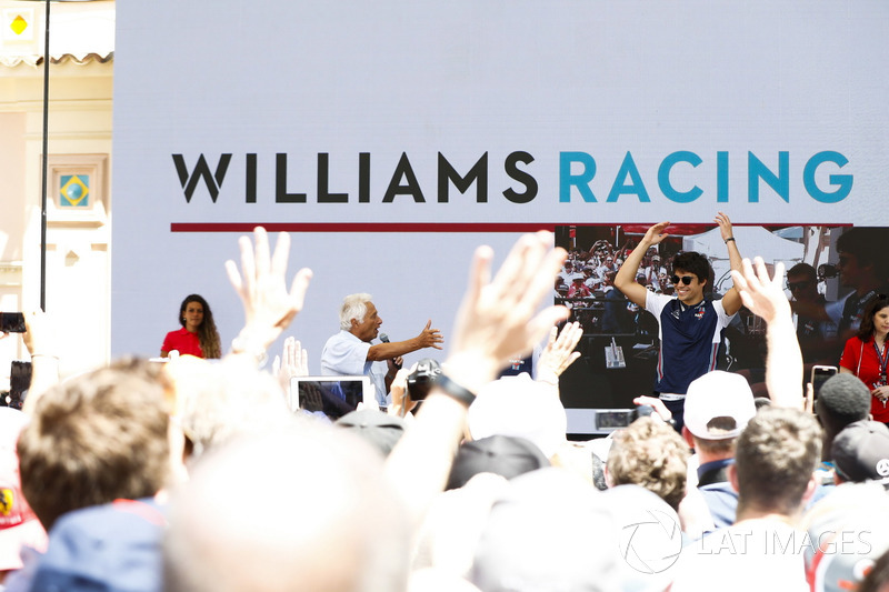 Bob Constanduros with Lance Stroll, Williams Racing, on stage