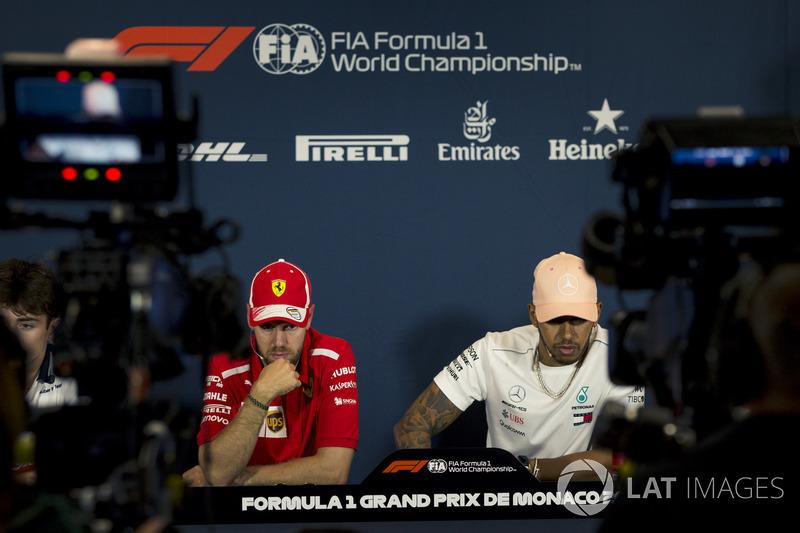 Sebastian Vettel, Ferrari e Lewis Hamilton, Mercedes-AMG F1, nella conferenza stampa