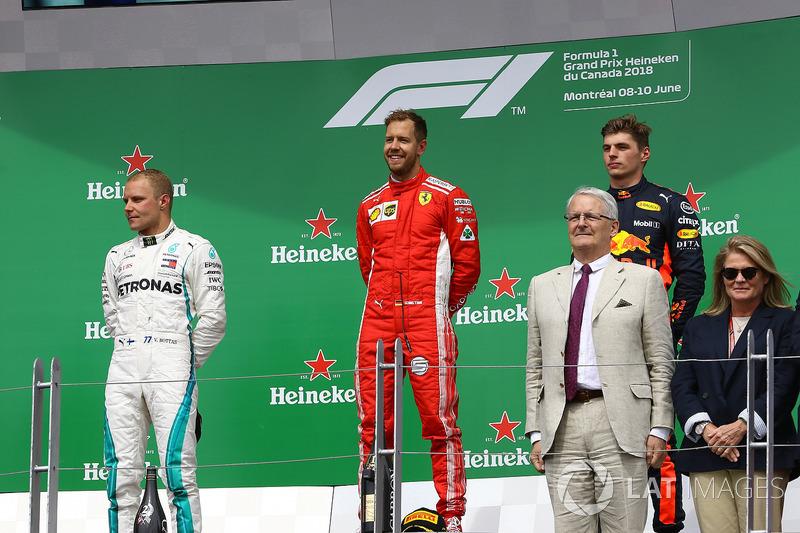 Valtteri Bottas, Mercedes-AMG F1, Sebastian Vettel, Ferrari and Max Verstappen, Red Bull Racing sur le podium