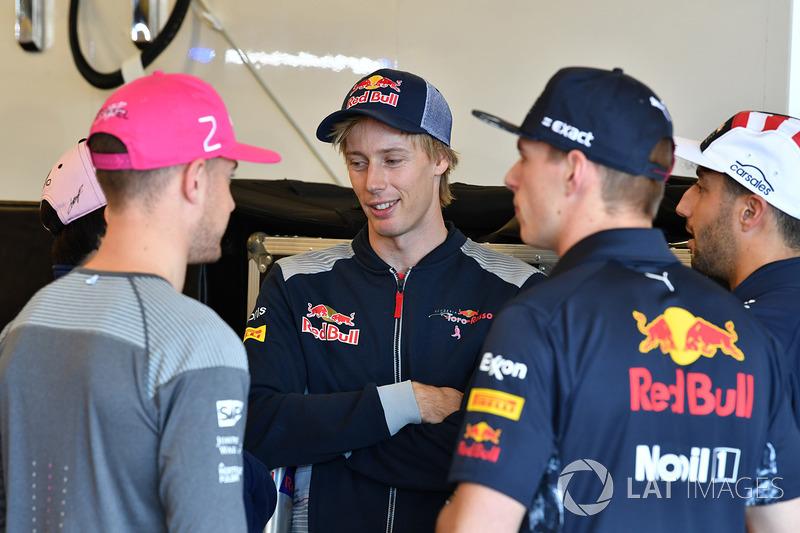 Stoffel Vandoorne, McLaren, Brendon Hartley, Scuderia Toro Rosso, Max Verstappen, Red Bull Racing y Daniel Ricciardo, Red Bull Racing