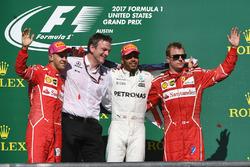 Second place Sebastian Vettel, Ferrari, James Allison, Mercedes AMG F1 Technical Director, race winner Lewis Hamilton, Mercedes AMG F1 and third place Kimi Raikkonen, Ferrari celebrate on the podium