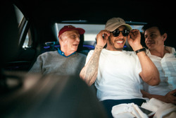 Невиконавчий директор Mercedes AMG F1 Нікі Лауда, Льюіс Хемілтон, Mercedes-Benz F1, керівник Mercedes AMG F1 Тото Вольфф
