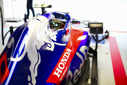The car of Pierre Gasly, Toro Rosso STR13 Honda, in the garage