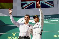 Mercedes AMG F1 Team Member and Lewis Hamilton, Mercedes AMG F1 celebrate on the podium