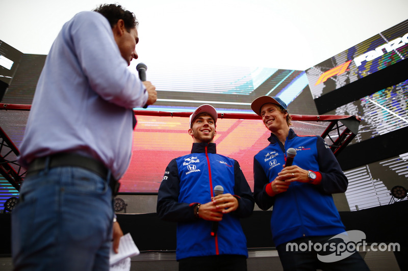 Pierre Gasly, Toro Rosso, and Brendon Hartley, Toro Rosso, are interviewed on stage