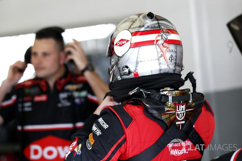 Austin Dillon, Richard Childress Racing Chevrolet Camaro with a special helmet design