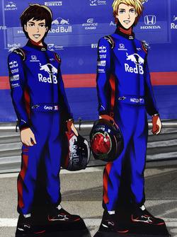 Pierre Gasly, Scuderia Toro Rosso and Brendon Hartley, Scuderia Toro Rosso cartoon cut outs