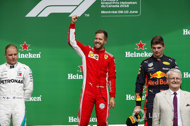 Valtteri Bottas, Mercedes AMG F1, 2nd position, Sebastian Vettel, Ferrari, 1st position, and Max Verstappen, Red Bull Racing, 3rd position, on the podium
