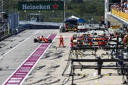 Sebastian Vettel, Ferrari SF70H, makes a stop