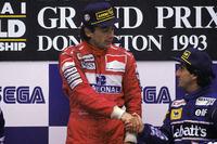 Race winner Ayrton Senna, McLaren, third place Alain Prost, Williams