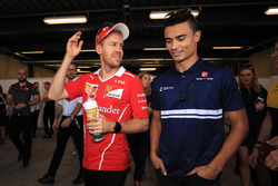 Sebastian Vettel, Ferrari and Pascal Wehrlein, Sauber on the drivers parade