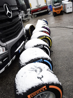 Snow covered Pirelli tyres