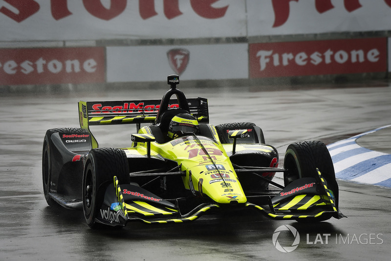 Sébastien Bourdais, Dale Coyne Racing with Vasser-Sullivan Honda qualifying in the rain