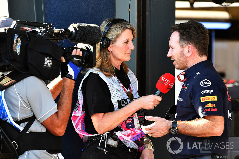 Louise Goodman, habla con Christian Horner, Red Bull Racing Team Principal
