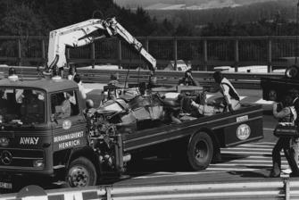 Niki Lauda, Ferrari 312T2, crash