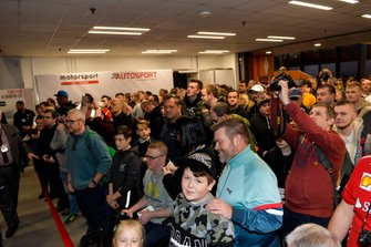 Fans wait for Johnny Herbert, Karun Chandhok and Billy Monger to open the Show on Sunday