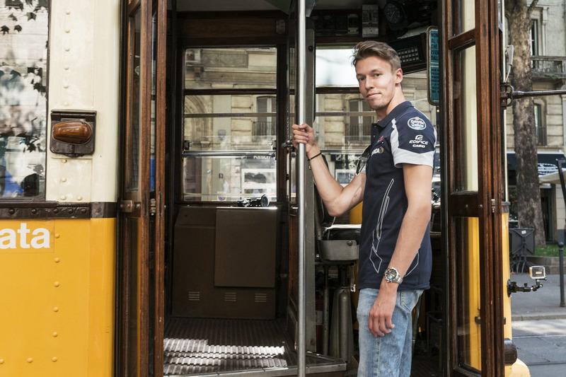 Daniil Kvjat gets in the historical tram of Milano