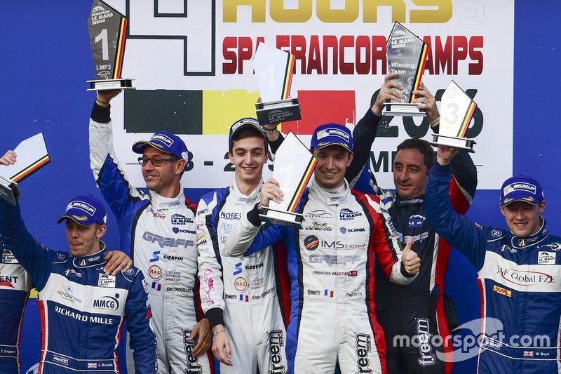 LMP3-Podium: Sieger #9 Graff Racing, Ligier JS P3 - Nissan: Eric Trouillet, Paul Petit, Enzo Guibber