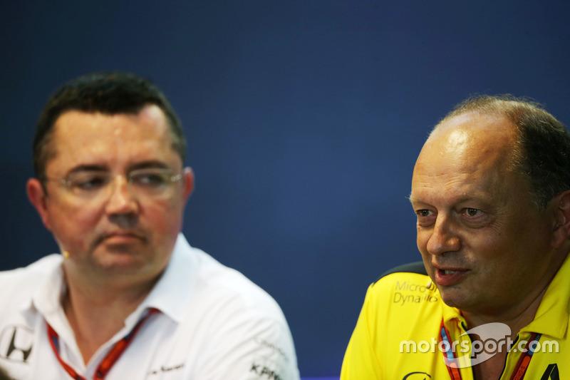 (L to R): Eric Boullier, McLaren Racing Director and Frederic Vasseur, Renault Sport F1 Team Racing