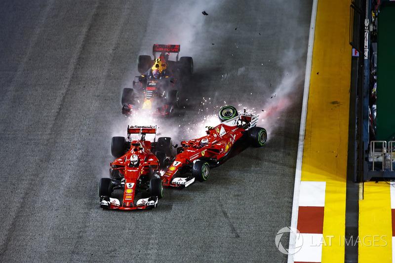 Verstappen foi jogado para cima de Raikkonen que acertou Vettel e danificou a lateral da Ferrari número 5.