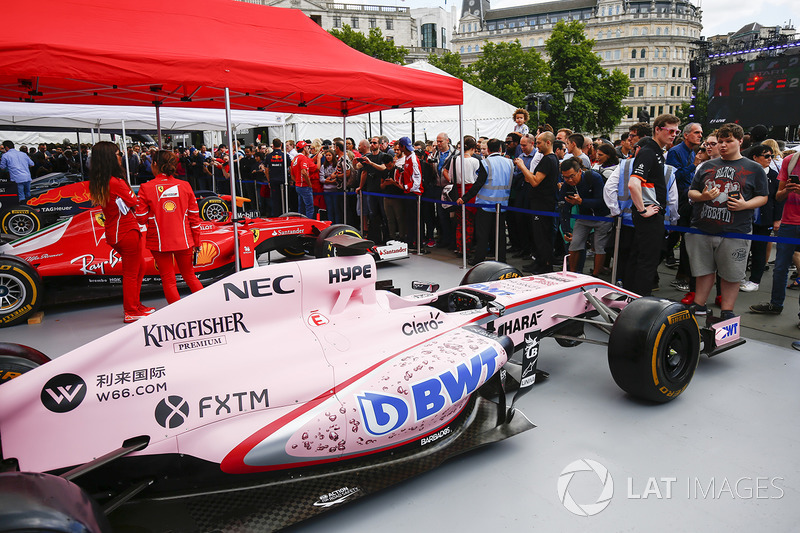 The Sahara Force India F1 VJM10 on the teams stand