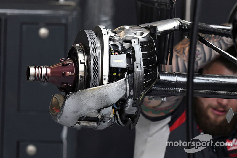 Haas F1 Team VF-17 rear wheel detail
