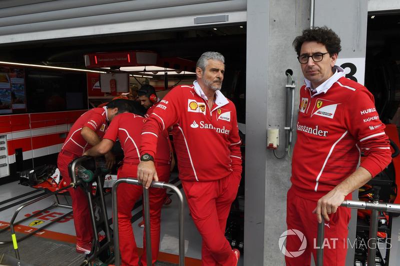 Maurizio Arrivabene, Ferrari Team Principal, Mattia Binotto, Ferrari Chief Technical Officer