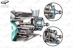 Mercedes W03 rear brake detail, note caliper position differs in main image to lower inset. Upper inset shows upright, hub and carrier detail