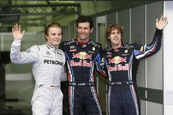 Polesitter Mark Webber, Red Bull Racing, second place Nico Rosberg, Mercedes AMG F1, third place Sebastian Vettel, Red Bull Racing