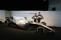 (L to R): Sergio Perez, Sahara Force India F1 and team mate Esteban Ocon, Sahara Force India F1 Team with the Sahara Force India F1 VJM10