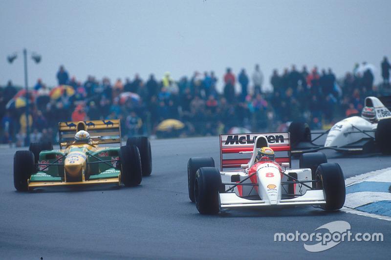 Ayrton Senna, McLaren MP4/8 Ford; Riccardo Patrese, Benetton B193B Ford
