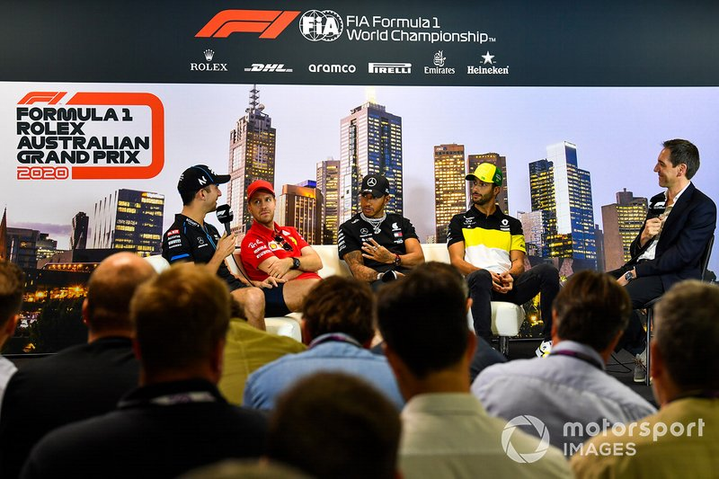 Nicholas Latifi, Williams Racing, Sebastian Vettel, Ferrari, Lewis Hamilton, Mercedes-AMG Petronas F1, and Daniel Ricciardo, Renault F1 in the press conference