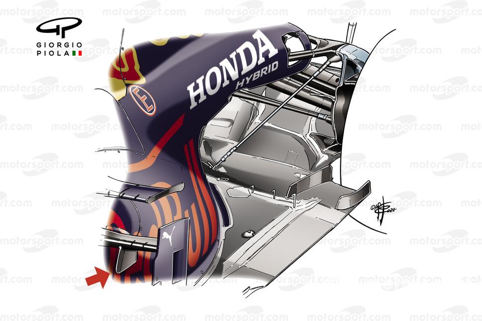 Suspensión trasera del Red Bull Racing RB16B.