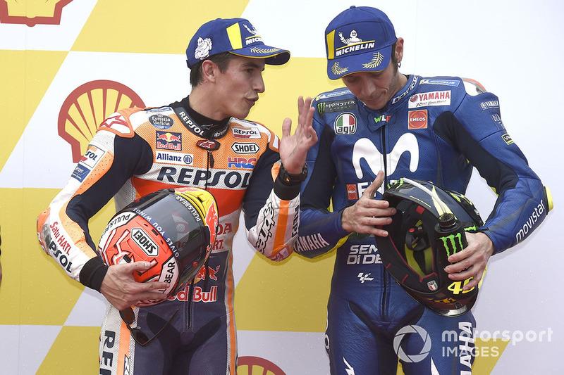 Peraih pole, Marc Marquez, Repsol Honda Team, tempat ketiga Valentino Rossi, Yamaha Factory Racing