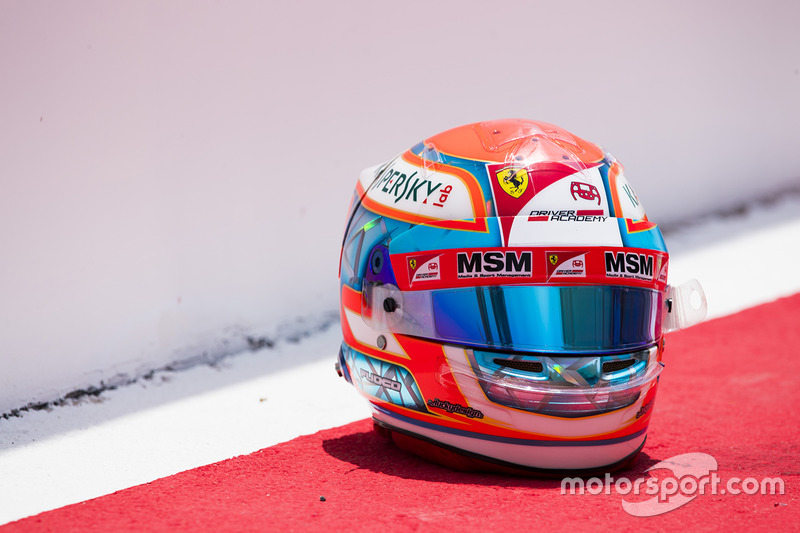 The helmet of Antonio Fuoco, PREMA Racing