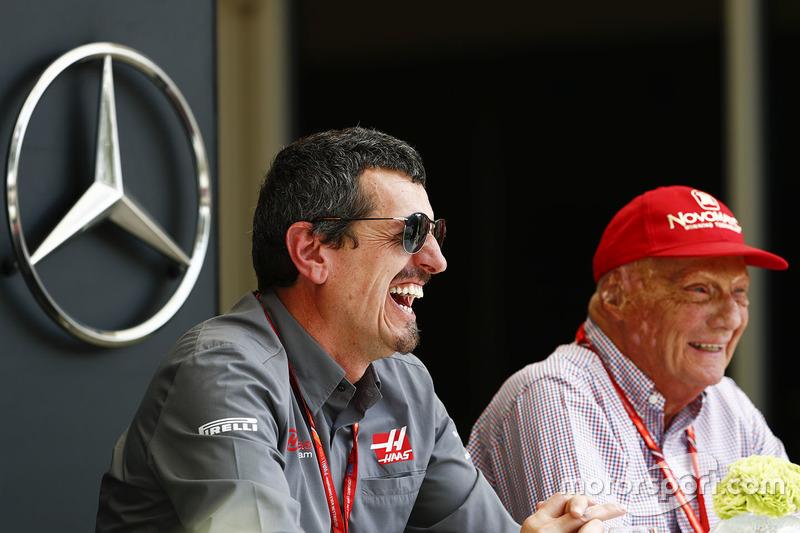 Guenther Steiner, Team Principal, Haas F1 Team, Niki Lauda, Non-Executive Chairman, Mercedes AMG