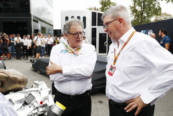Didier Perrin and Ross Brawn with the new F2 engine in the paddock