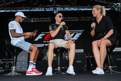 Lewis Hamilton, Mercedes AMG F1 and Valtteri Bottas, Mercedes AMG F1 on stage