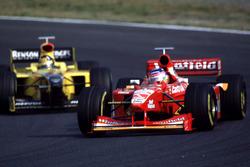 Jacques Villeneuve, Williams leads Damon Hill, Jordan