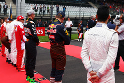 Pascal Wehrlein, Manor Racing as the grid observes the national anthem